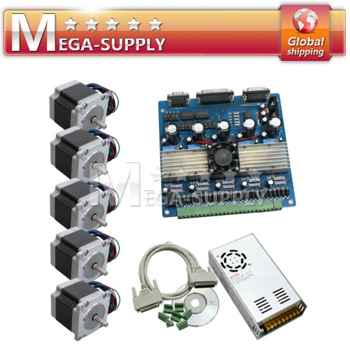 CNC Kit 5 Axis Driver Controller Board + 24V15 Power Supply + Nema 23 Motor