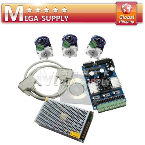 3 Axis CNC Stepper Motor Driver Kit + 1.24 Nm Nema23 Motor PSU 24V