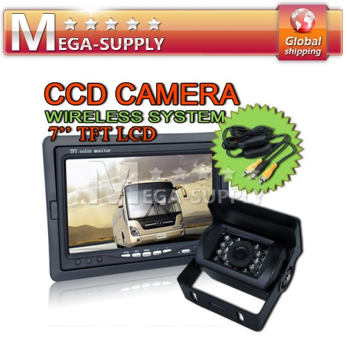 Car Rear View Kit Monitor+wireless Reversing CCD Camera