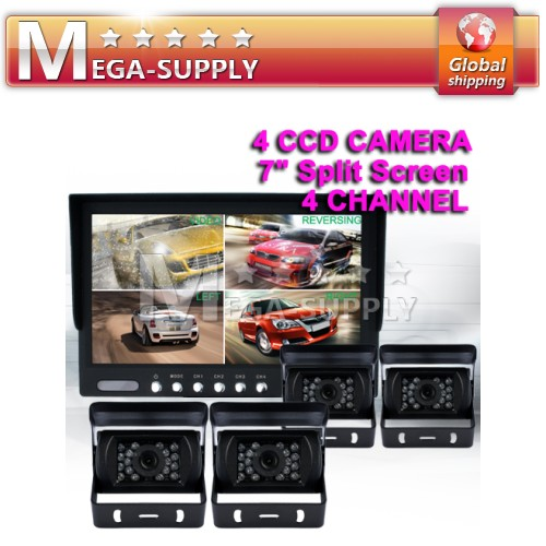 "Car Rear View Kit 7"" QUAD Monitor +4xCCD Camera Reverse"