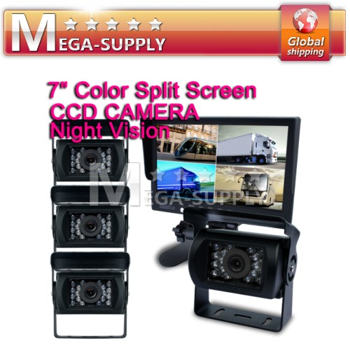 "24V Waterproof CCD Reversing 4x Camera +7"" Split Quad Rear View TFT LCD Monitor"