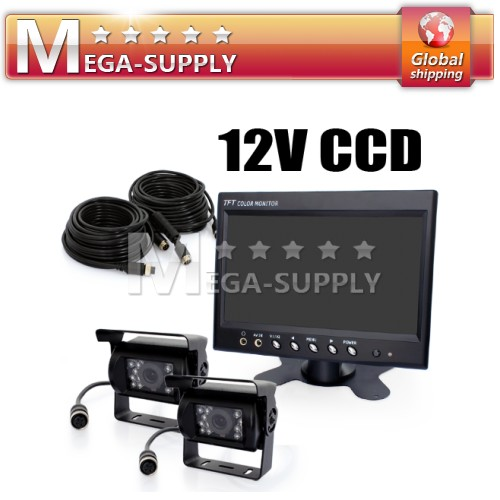 12V 2x CCD Reversing Camera Kit For Lorry Horsebox Van