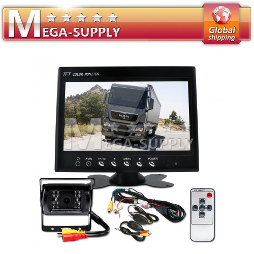 "Car Rear View Kit 7"" Monitor White CCD Reversing Camera"
