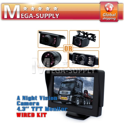 "Car Rear View Kit Reversing IR Camera System 4.3"" LCD"