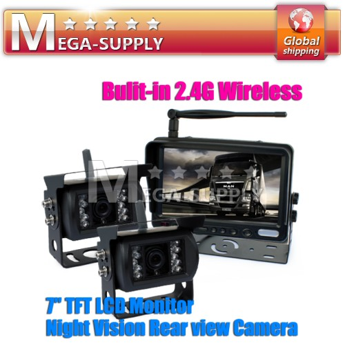 "7"" LCD + Wireless Dual CCD Reversing Cameras Kit -FULL Caravan Trailer System"