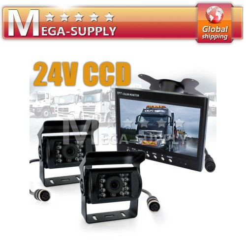 24V 2x CCD Reversing Camera Kit For Lorry Horsebox Van