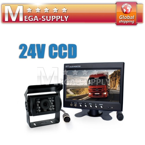 "24v Car Rear View Kit 7"" LCD Monitor +CCD Reversing Camera 4PIN Waterproof"