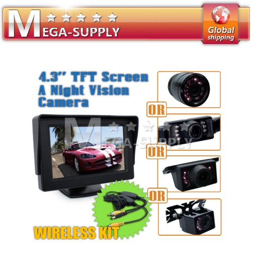 "4.3""TFT LCD Monitor Car Wireless Rear View Camera Parking System 2CH Video Input"