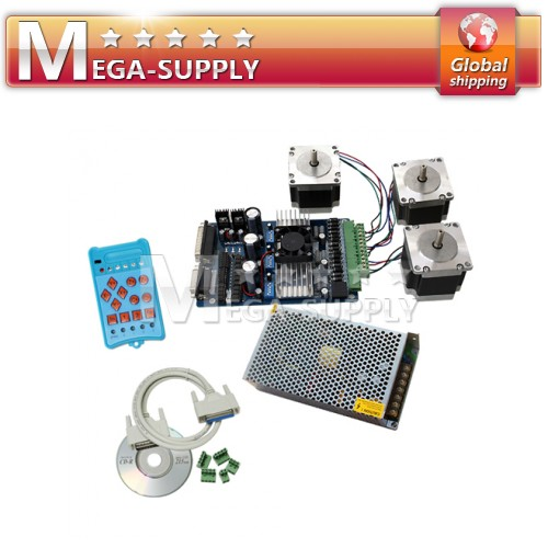 3 Axis CNC Stepper Motor Driver Nema 23 PSU + Handle