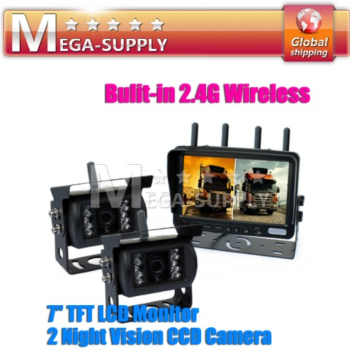 "7"" Quad Split Wireless Monitor + 2 CCD Rear View Backup Wireless Camera Kit"