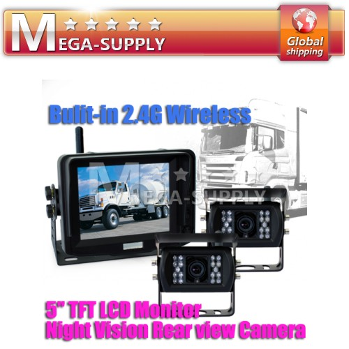 "Trailer 5"" WIRELESS REAR VIEW REVERSING KIT+2 CAMERA"
