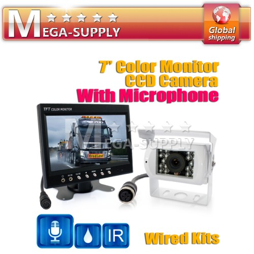 "CAR VAN REAR VIEW KIT 7"" LCD AUDIO MONITOR+ MIC REVERSING BACKUP CCD CAMERA"