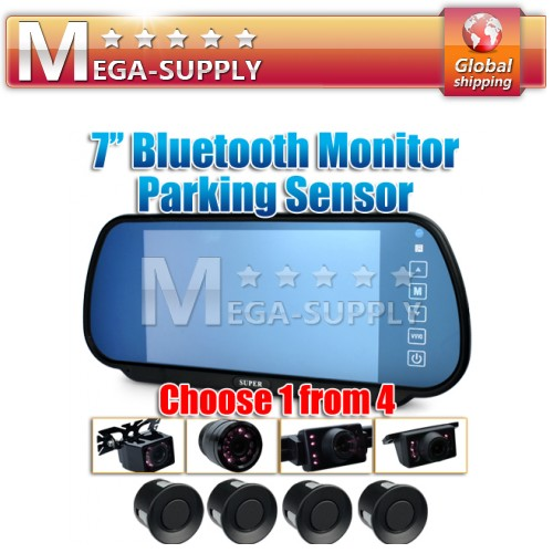 "7"" Built-in Screen Bluetooth Rear View Mirror + Car Reversing Cam Parking Sensor"