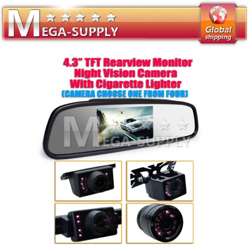 "4.3"" Inch TFT Car LCD Rear View Rearview DVD Mirror Monitor + Backup Camera Cam"