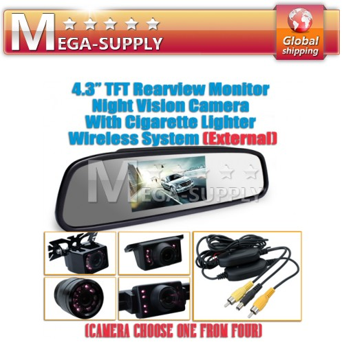 "4.3"" Wireless Rear View Mirror Handsfree Car Reversing Kit + Back Up Camera"