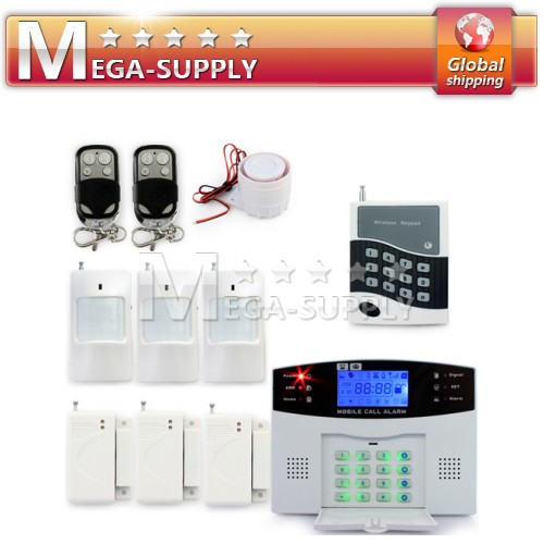 Wireless GSM SMS Burgular Alarm System P.I.R Door Gap Detector Kit Keypad