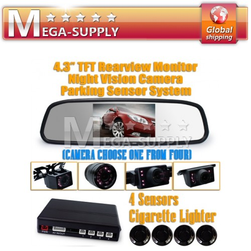 "4.3"" Rear View Mirror 4 Parking Sensors Alarm Car Reversing Kit + Back Up Camera"