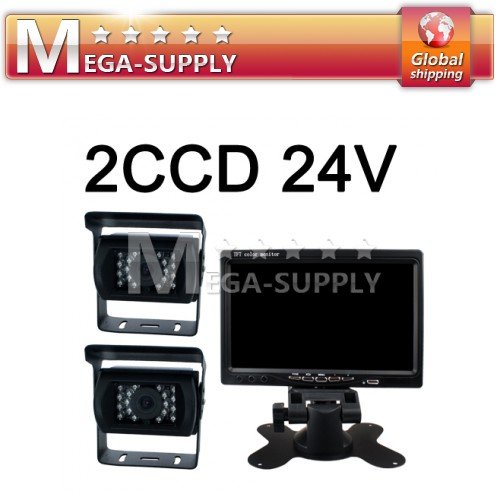"CAR REAR VIEW KIT 7"" LCD MONITOR+2X CCD 24V IR REVERSING CAMERA BACKUP SYSTEM"