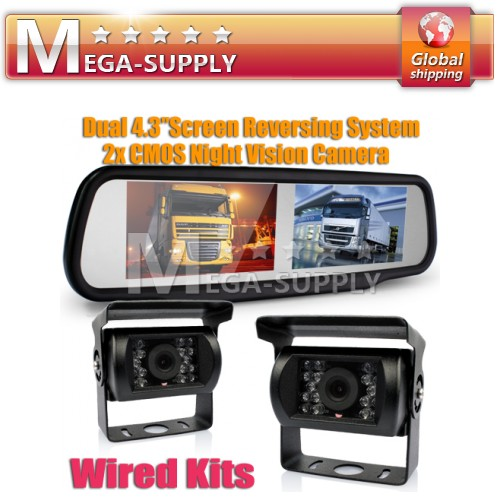 "Motorhome Lorry Car Dual 4.3"" LCD Rearview Mirror Monitor+ 2 Reversing IR Camera"