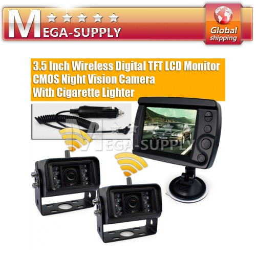 "Truck Trailer Wireless Reversing Kit -3.5"" Wireless Monitor Backup 2 Camera"