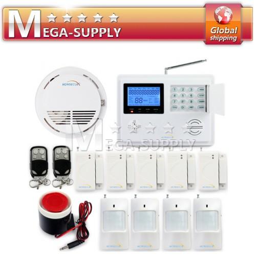 Wireless GSM SMS Telephone Line Burglar Alarm System Smoke Fire Detect Alert