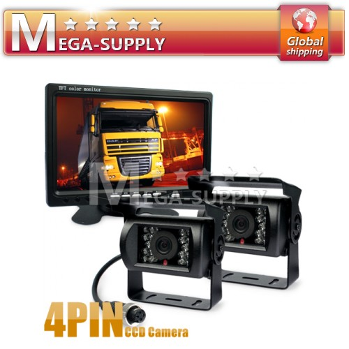 "2 CCD 4PIN IR Cameras + 7"" LCD Rear View Monitor For HGV Reversing Lorry Truck"
