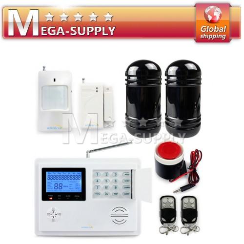 Wireless GSM/PSTN Home Security Alarm System PIR Door Sensor +IR Dual Beams 100m