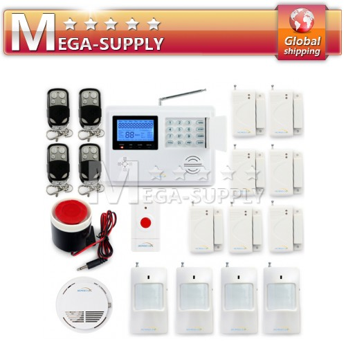 Wireless Gsm Telephone Line Alarm System Smoke Panic Button Pir Door Gap Sensor