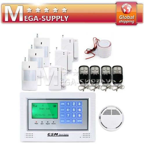 Wireless GSM SMS Talkback Security Burglar Alarm System Touch Keypad Sensors Kit
