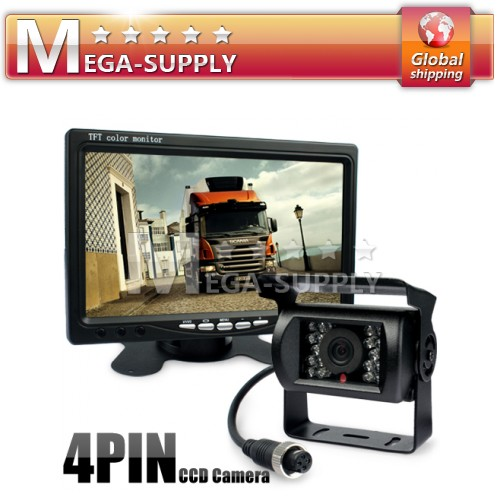 "4Pin Vans Motorhome Reversing Kit 7"" Monitor + Wateproof CCD Backup IR Camera"