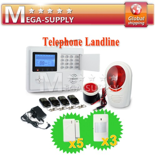 Wireless Wired PSTN Auto-dial Home Alarm System Timely Arm/Disarm + Falsh Siren