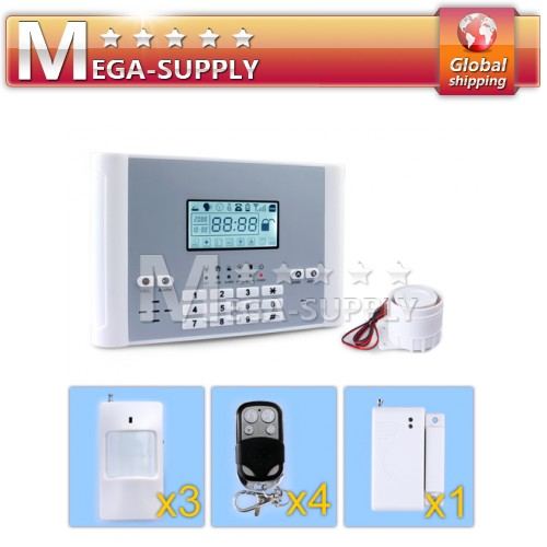 Wireless GSM Home Security System + Sensors PIR*3 + Door/Window*1 + Remote*4