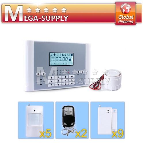 Wireless GSM Intruder Alarm System + P.I.R*5 +Window Gap*9 + Remote Controller*2