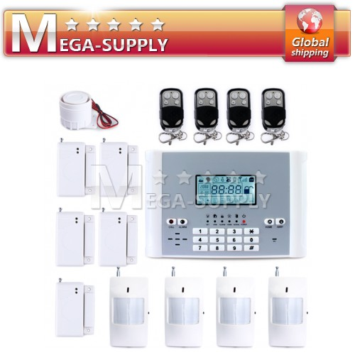Wireless GSM SMS Auto-dial Alarm System PIR Door Gap Sensor 4 Remote 4PIR 5Gap
