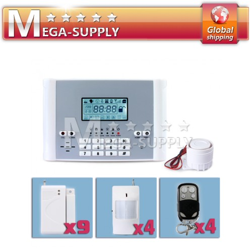 GSM SMS TEXT Alarm System Long Distance Control PIR*4 + Door Sensor*9 + Remote*4