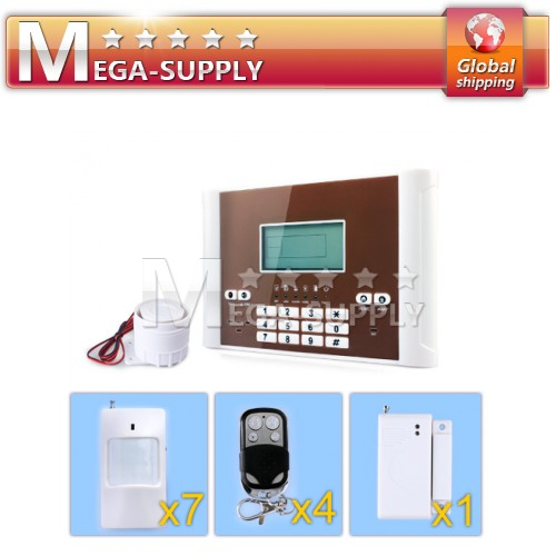 Wireless GSM Sim Auto-dial Home Alarm System Motion*9+Gap Sensor*1 +Controller*4