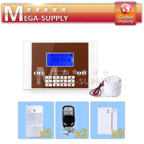 Wireless GSM Sim Auto-dial Home Alarm System Motion*5+Gap Sensor*9 +Controller*2