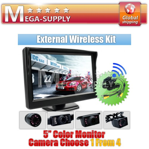Car Wireless Reversing Camera Kit 5 Inch Back Up LCD +Night Vision Rearview Cam