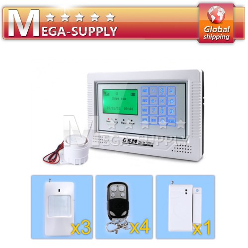 Touch Keypad Screen GSM Alarm System + 4Remote Controller + 1Door Senosr + 3PIR