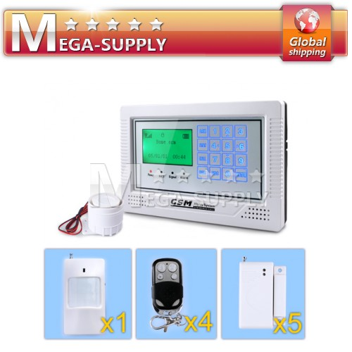 Touch Keypad Screen GSM Alarm System + 4Remote Controller + 5Door Senosr + 1PIR