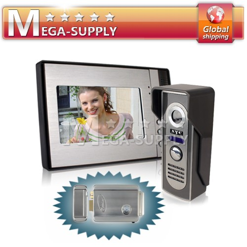 7 Inch LCD Monitor + Mini Infrared Outdoor Camera Wired Video Door Phone + Lock