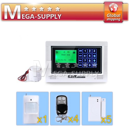 Wireless GSM SMS Intruder Alarm System Touch Keypad 4Remote Controllers +5Door