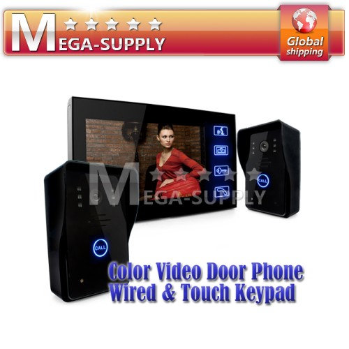"Door Phone Doorbell Touch Key 7"" Lcd Video With Ir Camera Of Home Intercom 2V1"