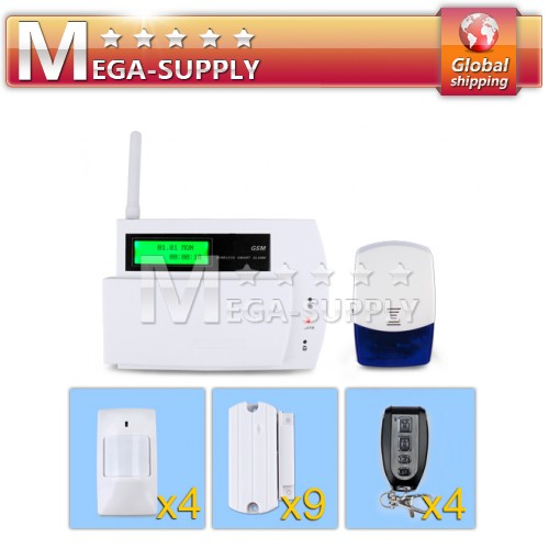 Wireless GSM Sim SMS Alarm Security System Flash Siren Blue Light Sensors Kit