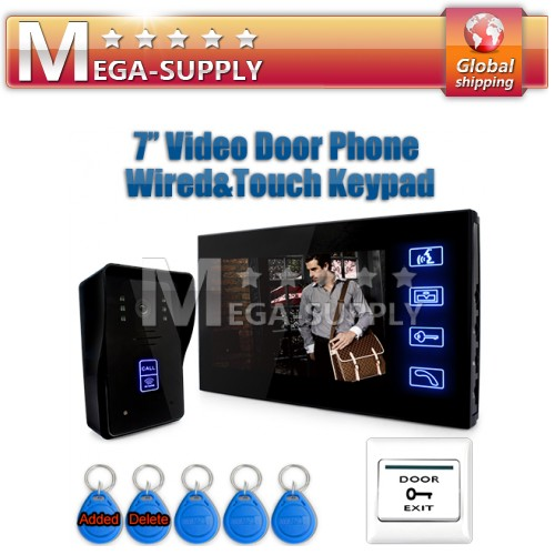 "7"" Video Door Phone Intercom Doorbell Home Security Camera Monitor RFID Keyfobs"