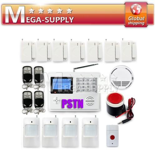 Wireless Telephone LandLine Auto-dial Home Burglar Alarm System +Smoke*1+Panic*1
