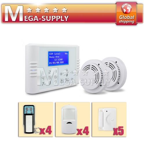 Wireless GSM Phone Line Home Touch Keypad Securtiy Alarm System +2 Smoke Sensors