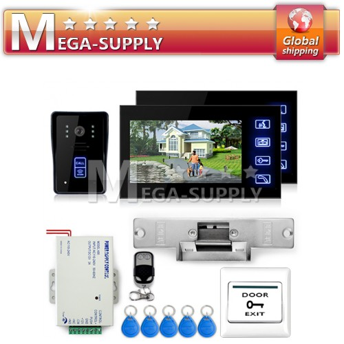 Video Door Phone Doorbell IR 1 Camera 2 Monitor Touch Key Electric Strike Lock